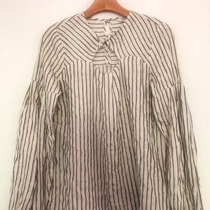 Express Striped Long Sleeve Blouse